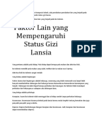 Faktor Lain yang Mempengaruhi Status Gizi Lansia