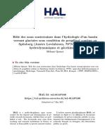 Role Des Eaux Souterraines Dans l'Hydrologie d'Un Bassin Versant Glaciaire Sous Condition de Pergélisol Continu Au Spitsberg