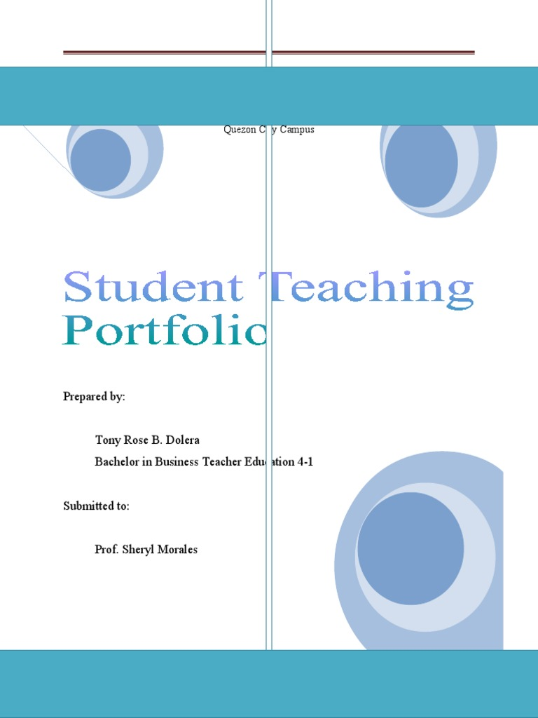 Student teaching portfoliopdf teachers mentorship fandeluxe Image collections