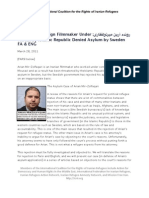 ICRIR Press Release Mousavi Campaign Filmmaker Under Threat by Islamic Republic Denied Asylum by Sweden (FA & ENG)