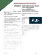 Lista de Exercícios Sobre Funções 2º Grau