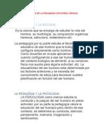 RELACION DE LA PEDAGOGIA CON OTRAS CIENCIAS