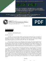 U.S. Postal Service Ethics Program Reviews for 2006, 2000, 1995, 1993, 1991, 1987 and 1981
