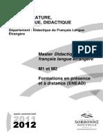 Ufr Littérature, Linguistique, Didactique Master Didactique Du Français Langue ... ( Pdfdrive )