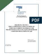 Disciplinare tecnico per la fornitura e posa in opera di tubi e raccordi per reti pluviali nei depuratori e potabilizzatori
