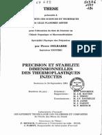 PRECISION ET STABILITE DIMENSIONNELLES DES THERMOPLASTIQUES INJECTES