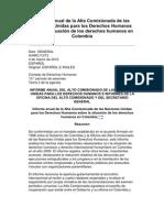 Informe anual de la Alta Comisionada de las Naciones Unidas para los Derechos Humanos sobre la situación de los derechos humanos en Colombia