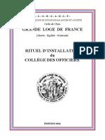 Rituel DInstallation Du Collège Des Officiers - Edition 6015