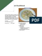 Käsesuppe mit Hackfleisch