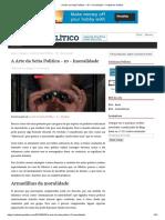 A Arte da Seita Política – 10 – Imoralidade – Ceticismo Político