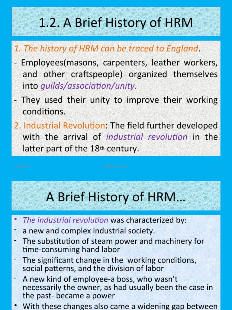 trace the historical development of the field of human resource management