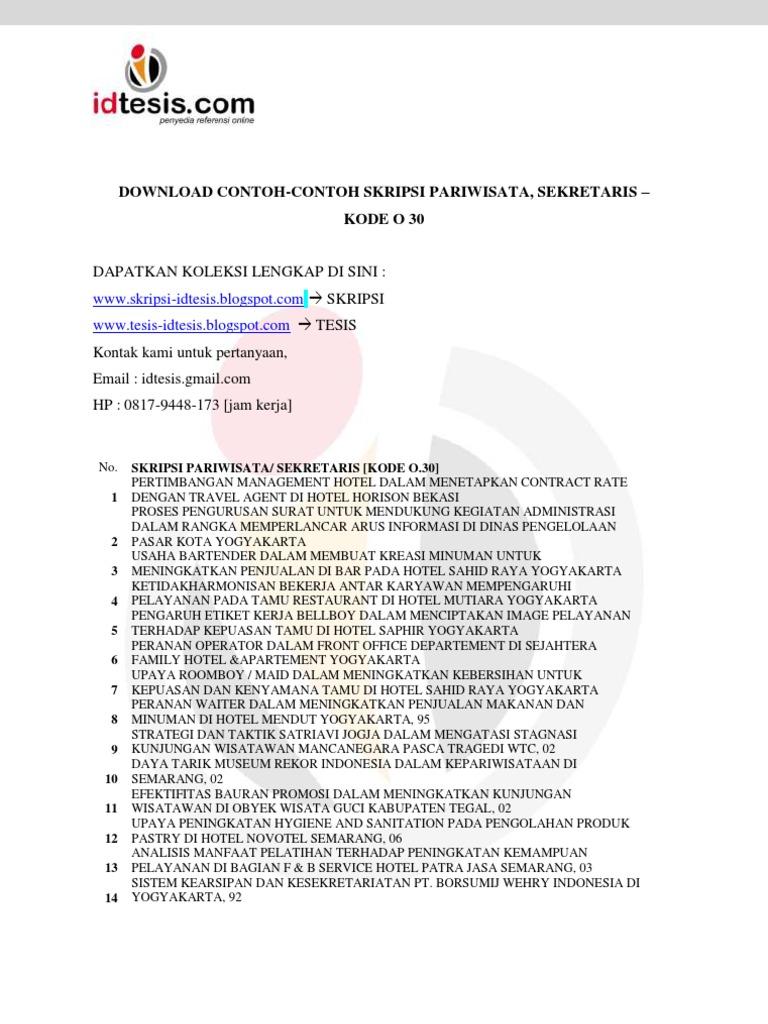Contoh Skripsi Pariwisata Sekretaris Kode O 30