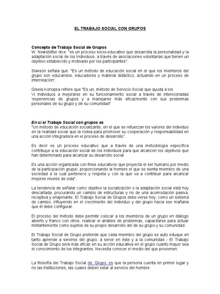 EL TRABAJO SOCIAL CON GRUPOS