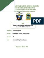 Análisis de las ventajas de conservación de las aguas en la actividad a agrícola