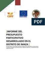 Informe Presupuesto Participativo en el Distrito de Imaza