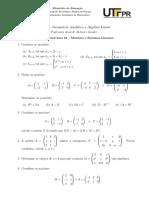 Lista 01 - Matrizes e Sistemas Lineares