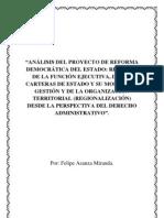 Análisis del proyecto de reforma democrática del Estado ecuatoriano desde la perspectiva del Derecho Administrativo