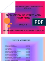 PRODUCTION OF CITRIC ACID FROM POME