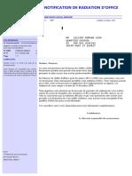 Notification de Radiation Suite a 36 Neants Ou Pj Nulles Artisan Commercant 1871033243046