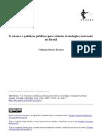 Escience e Políticas Públicas Para a Ciência, Tecnologia e Inovação No Brasil