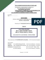 RECONSTRUCTION DE LA VILLE SUR LA VILLE