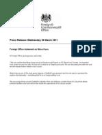 Foreign Office Statement on Musa Kusa