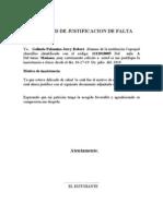 SOLICITUD DE JUSTIFICACION DE FALTA