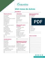 Checklist Mesa de Dulces