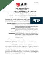 Prospecto Calox International Emisión 2021-VII Hasta  2021-X