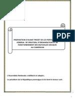 Projet de Proposition de Loi Portant Cadre d'Organisation Et Fonctionnement Des Mutuelles Sociales Au Cameroun