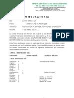 Convocat.radicacion Pliego Peticiones en Bogota