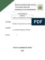 ETICA,SOCIEDAD Y ESTADO  -ARTICULO REFLEXIVO - YOMIRA RUIZ SAAVEDRA -CICLO I