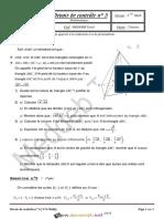 Devoir de Contrôle N°3 - Math - 3ème Mathématiques (2013-2014) Mr Meddeb Tarek