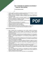 Responsabilidades y Funciones de Gerencia de Sistemas y Peajes de Tren Central