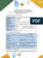 Guía de Actividades y Rúbrica de Evaluación - Fase 4 - Experimentación Activa