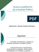 Comunicarea cu publicul la Societăţi şi Instituţii