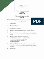 Agenda for school board finance meeting, 03/31/11