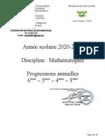 Progressions Annuelles Maths 2020-2021 Validées D200910