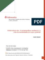Artista-educa-dor - A somatopolítica neoliberal e a crise da sensibilidade do corpo ocidental - Danilo Patzdorf