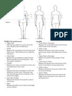 strapless dress measurement form