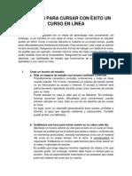 CONSEJOS PARA CURSAR CON ÉXITO UN CURSO EN LÍNEA