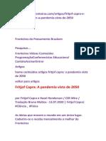 Fritjof Capra-- A pandemia vista de 2050