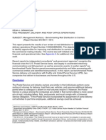USPS OIG Management Advisory - Benchmarking Mail Distribution to Carriers