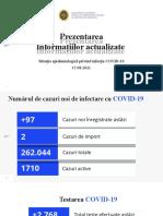 Raportul COVID-19 privind Situația Epidemiologică la 15 august2021 (ora 17:00)