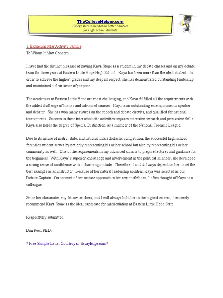 Letter Of Recommendation For College Sample from imgv2-2-f.scribdassets.com