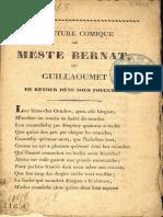 Abanture comique de Meste Bernat, ou Guillaoumet de retour déns sous fougueys