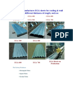 The Factory manufactures EGA sheets for roofing