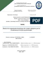 Etude de La Contamination Bactérienne Des Viandes Réfrigérées Par Les Pseudomonas de La Flore Psychrotrophe.