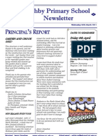 March 30, 2011 Ashby Primary School Newsletter
