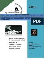 Formula y Analisis de Acido Acetilsalicilico